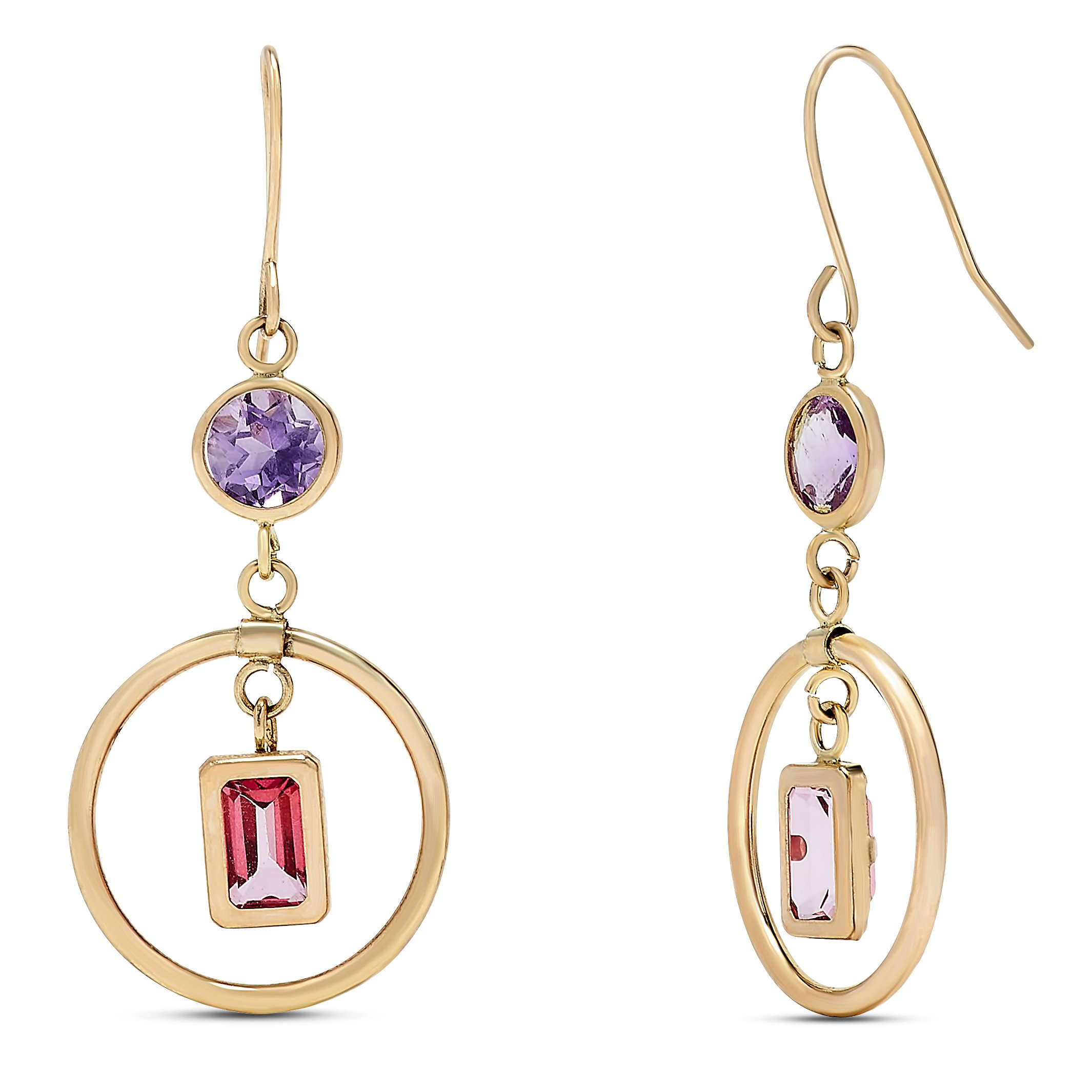 10k Yellow Gold Amethyst and Pink Topaz Gemstone Birthstone Dangle Earrings