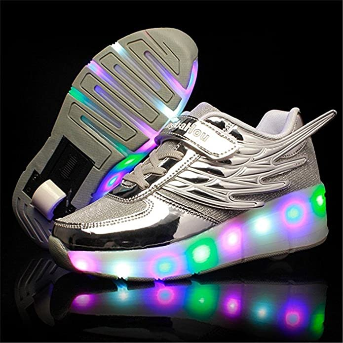 Pink 1 Wheel 32 M EU//1 M US Little Kid FG21ds21g LED Lighting Roller Skate Shoes Colorful Sport Sneaker for Boys Girls Kids