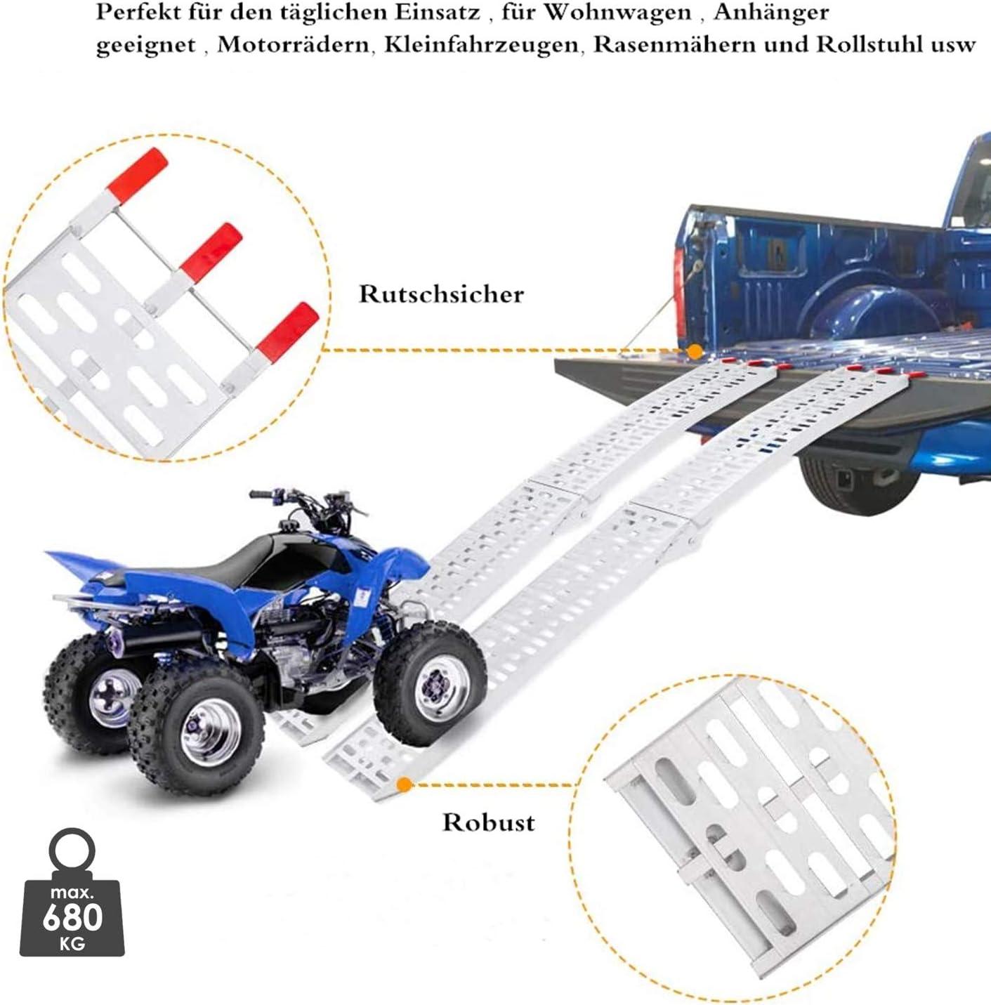 Set da 1 Rampa Hengda Rampa di Carico Pieghevole in Alluminio Carico Massimo 340kg Portatile Rampe Moto per Moto Scooter Quad ATV