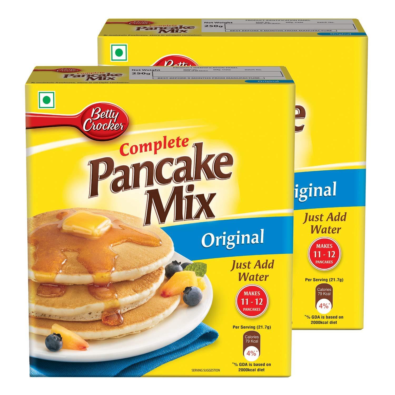 [Apply coupon] Betty Crocker Pancake Mix | Instant Breakfast Mix | Waffles and Pancake Mix Powder | Original Flavour | Eggless | 250g x Pack of 2 | 500g