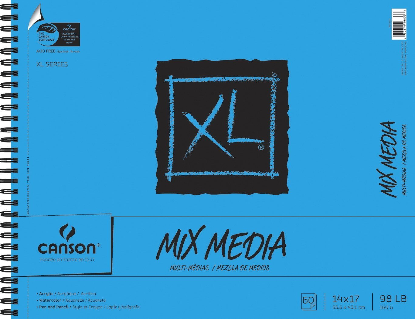 Canson XL Mix-Media Paper, 98 lb, 14 x 17 Inches, 60 Sheets - 100510930 by Canson