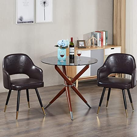 GreenForest Accent Chairs Modern Leather Chairs PU Seats for Living Room with Metal Legs, Set of 2 Dark Brown