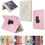 iPad Mini Case Pattern, AnNengJing PU Leather iPad Smart Cover Case with Sleep/Wake-up Function Flip Case with Stand Set (Cat and Fish)