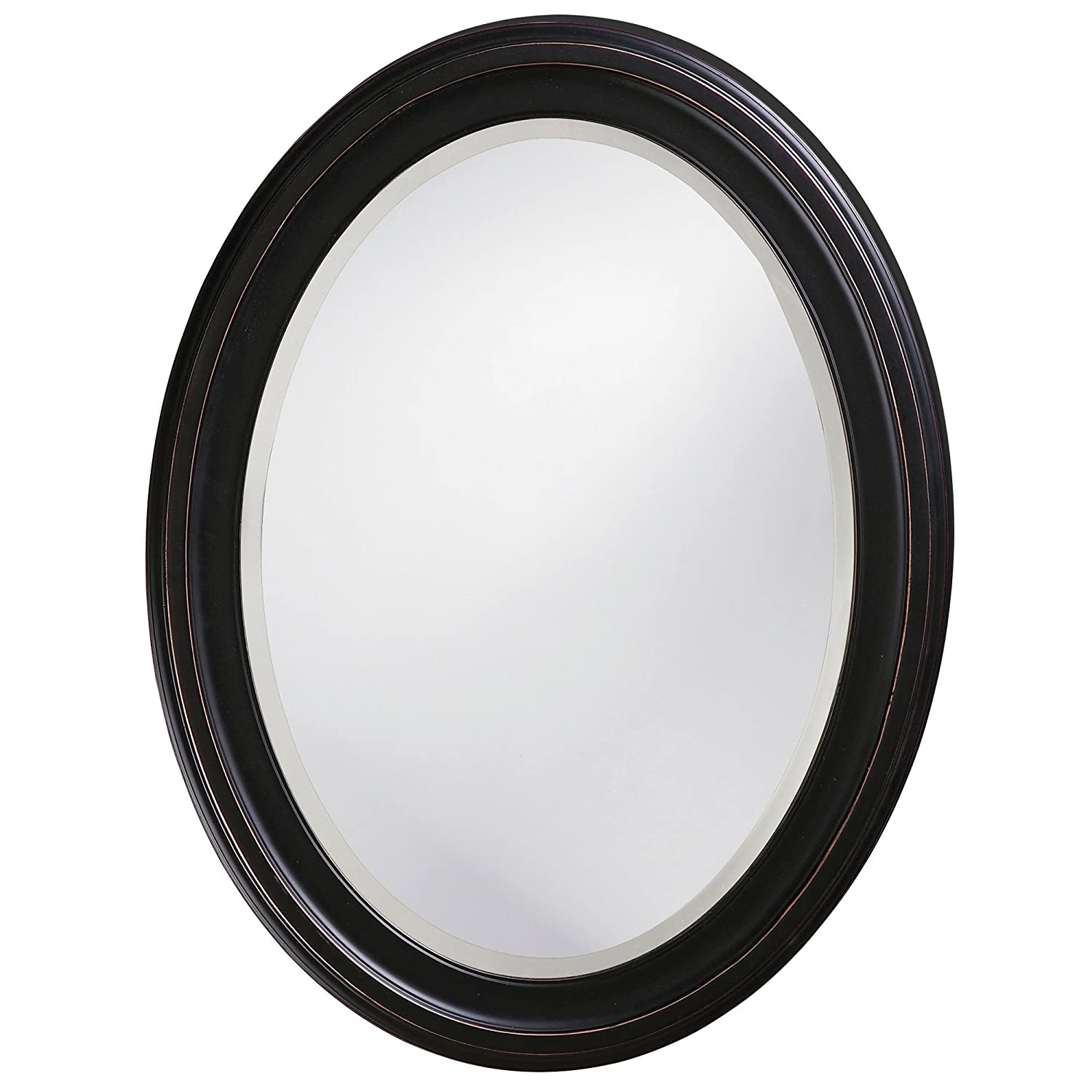 Howard Elliott George Oval Hanging Wall Mirror, Oil Rubbed Bronze Wood Frame