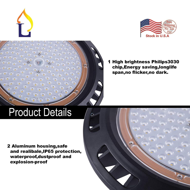 200W UFO High Bay LED Lighting 600-750W HID//Metal Halide Replacement,Super Bright Commercial Lighting Warehouse Lighting Retrofit Kits 6500K Zhongshan Jielang Lighting Technology Co Ltd JLUFO-E200W 1 Pack