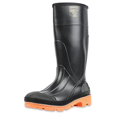 "Servus PRM 15"" PVC Men's Work Boots with Steel Toe and Steel Midsole, Black & Orange (75145C), 10: Home Improvement"