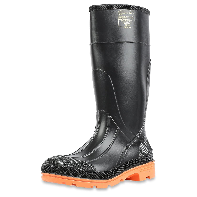 Honeywell Safety 75145C-7 North PRM PVC Safety Hi Boot for Men's, Size-7, Black/Orange by Honeywell B00B5SQHSU