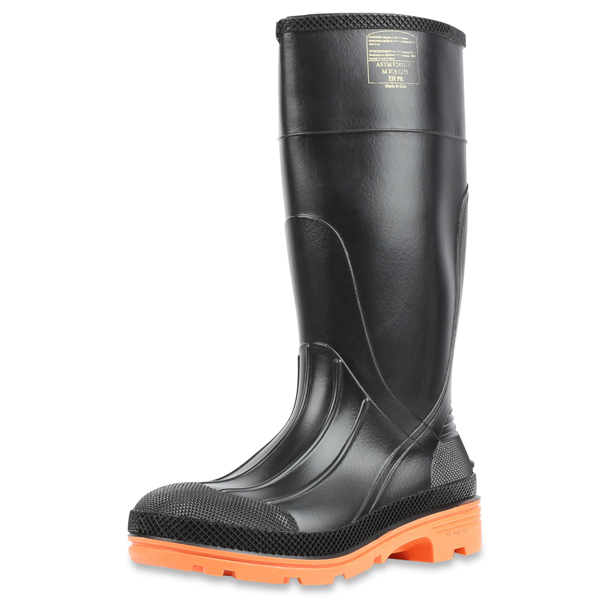 Servus PRM 15'' PVC  Men's Work Boots with Steel Toe and Steel Midsole, Black & Orange (75145C) by Servus (Image #1)