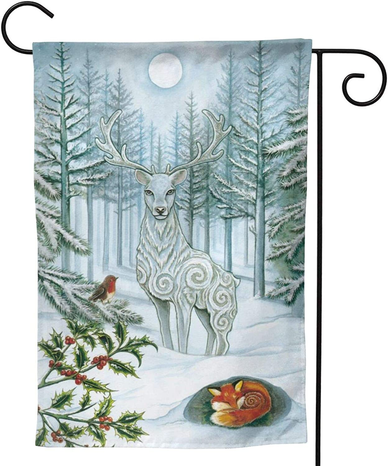 MINIOZE Yule Tree Pagan Christmas Deer Party Themed Flag Welcome Outdoor Outside Decorations Ornament Picks Garden Yard Decor Double Sided 12.5X 18 Flag