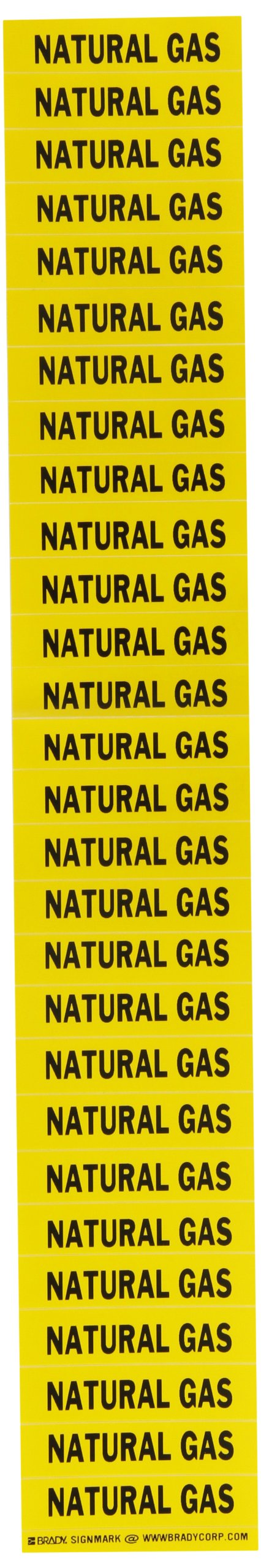 Brady 91949 Semiconductor & Chemical Pipe Markers, B-946, 1/2'' Height X 2 1/4''W, Yellow On Black Pressure Sensitive Vinyl, Legend ''Natural Gas''