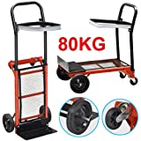 Popamazing 176lBS/440LBS Heavy Duty Sack Truck Industrial Hand Trolley Foldable Trolley Climbing Stair Climber Cart (176lBS/80KG)