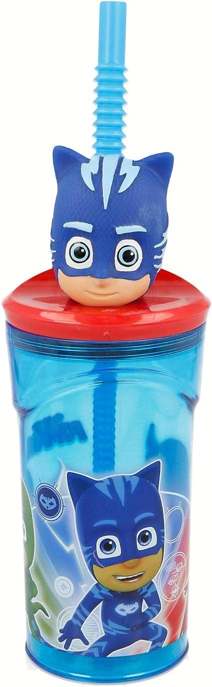 PJ MASKS - GATUNO | Vaso para niños de plástico con pajita y tapa - diseño infantil con figurita 3D y capacidad de 360 ML - sin BPA
