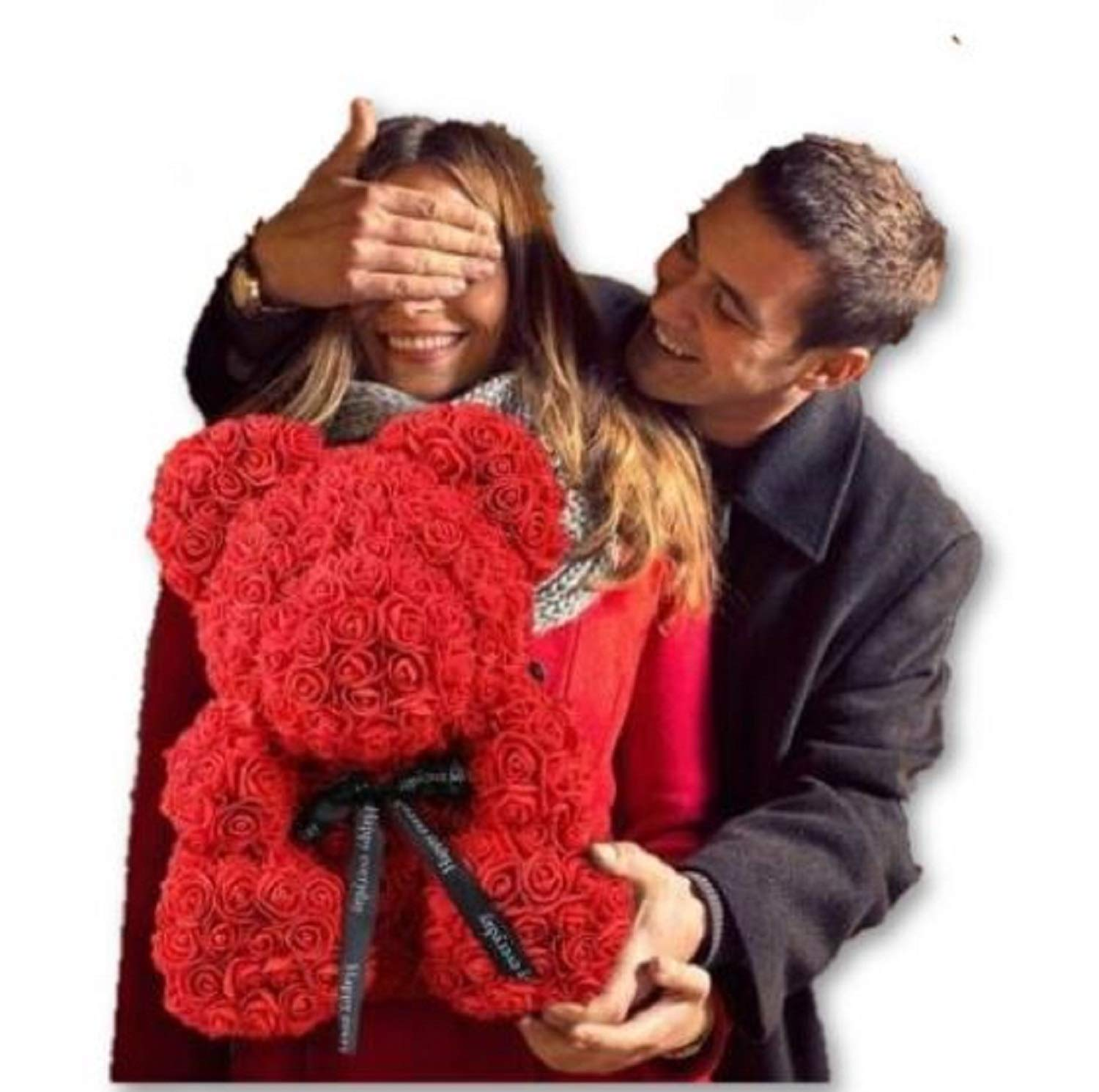 """silk flower arrangements rose bear teddy bear cub forever artificial rose anniversary christmas valentines gift 14"""" (red)"""