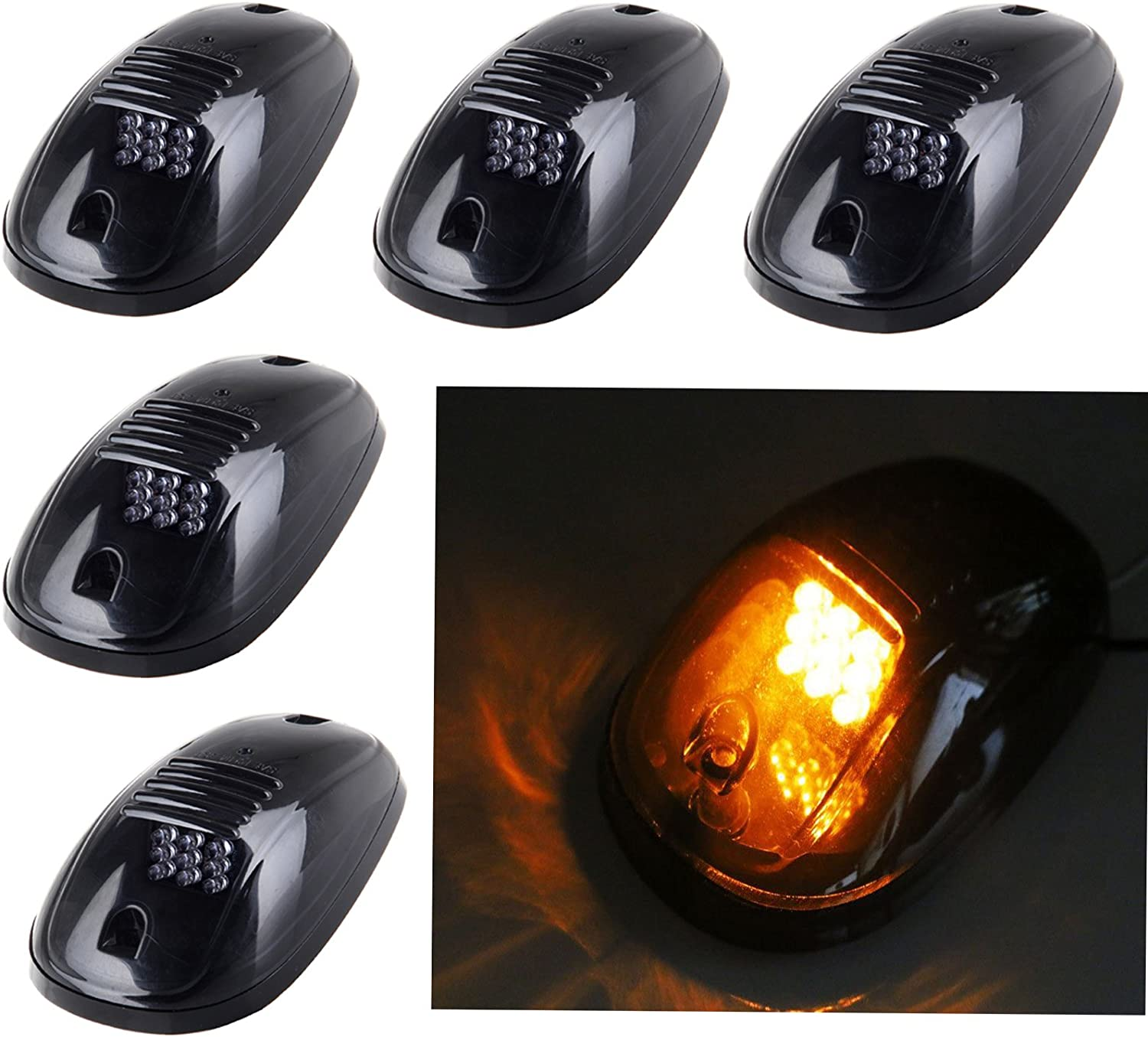 5pcs Amber 9 LED Smoke Cab Roof Top Running Marker Lights lamp 82211190AB w// Switch Wiring Kit for 2003-2016 Dodge Ram