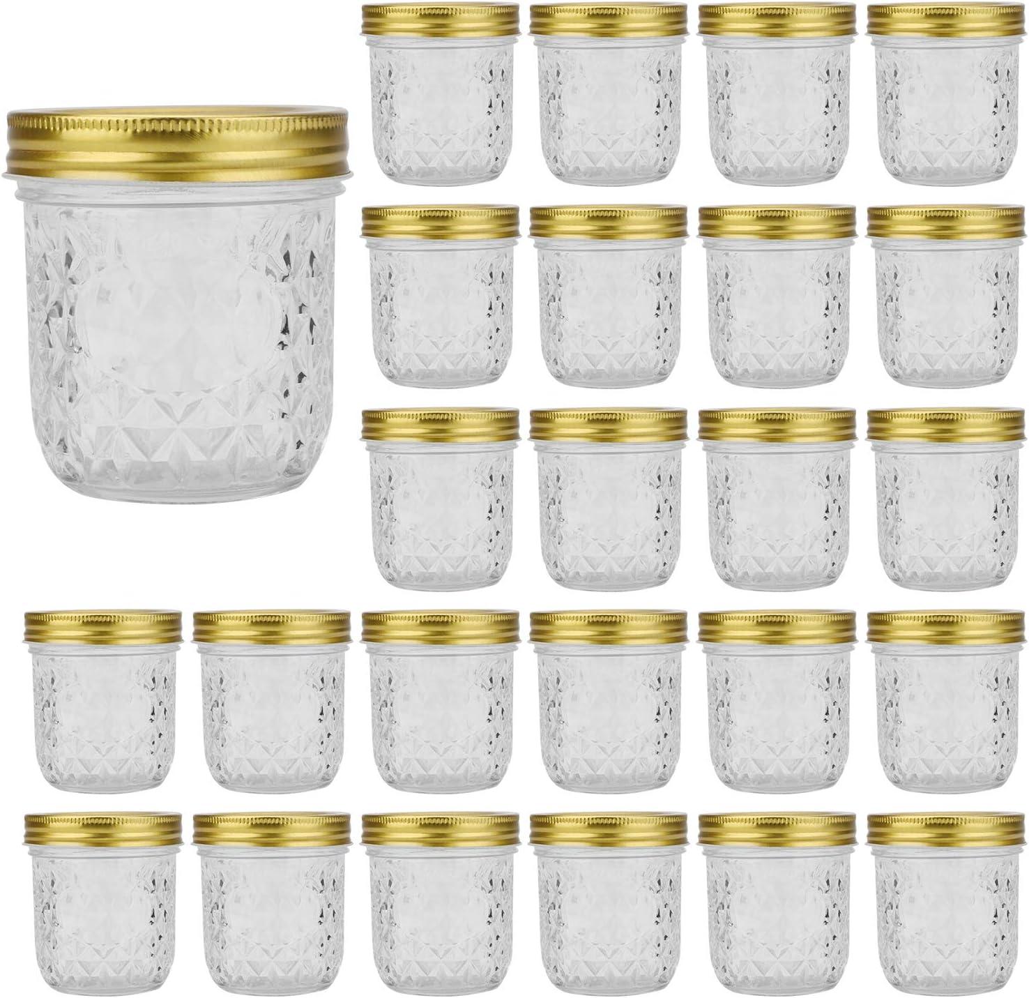Glass Jars With Lids 8 oz,Encheng Regular Mouth Mason Jars 250ml,Small Canning Jars For Caviar,Herb,Jelly,Jams,Honey,Food Storage Jars Dishware Safe,Set Of 24 …