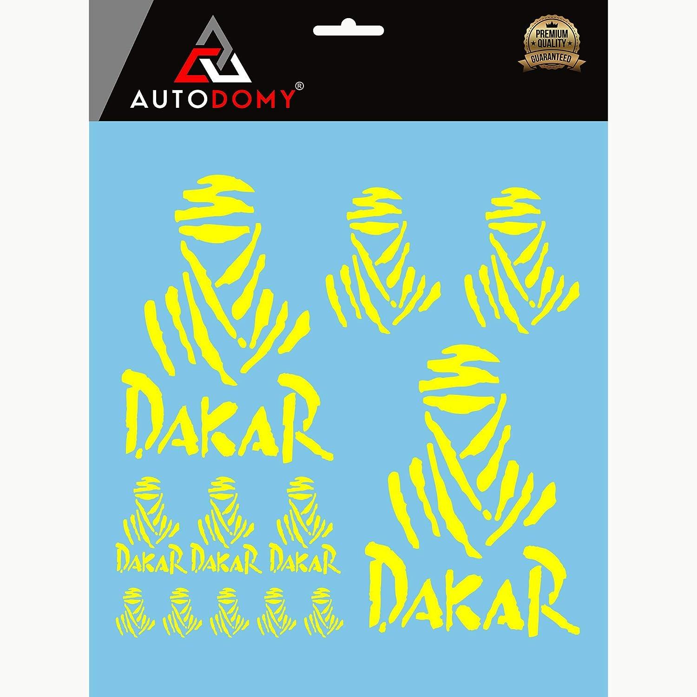 Giallo Autodomy Confezione Adesivi Dakar 15 Pezzi per Auto o Moto