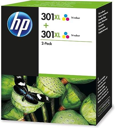 HP 301XL D8J46AE Tricolor, Pack de 2, Cartuchos Originales, de 330 páginas por cartucho, para impresoras de inyección de tinta HP DeskJet 1050, 2540,3050; OfficeJet 2620, 4630; ENVY 4500, 5530: Hp: Amazon.es: Oficina y papelería