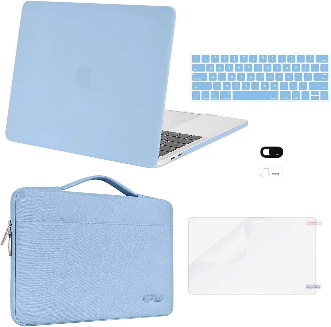 MOSISO Compatible with MacBook Pro 13 inch Case 2016-2020 Release A2338 M1 A2289 A2251 A2159 A1989 A1706 A1708, Plastic Hard Shell Case&Bag&Keyboard Skin&Webcam Cover&Screen Protector, Airy Blue