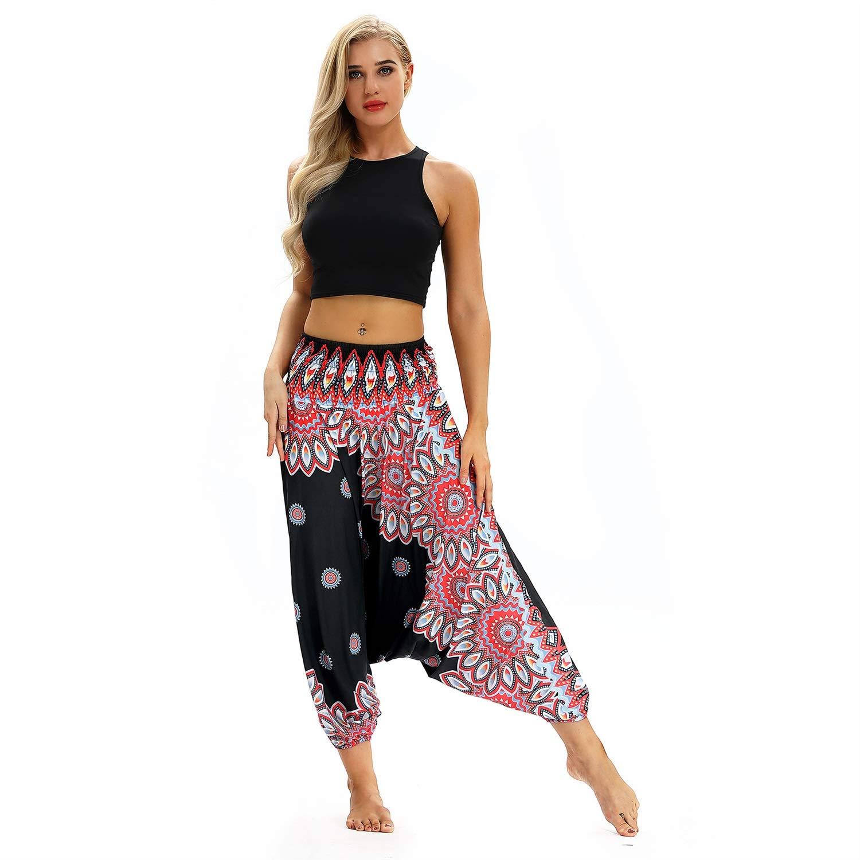 noir Taille unique Rohommece Pantalon de yoga femme sarouel créatif Bohème exotique, taille plus lanterne à imprimé floral indien Zumba danse du ventre élastique en vrac bleu clair rouge bleu