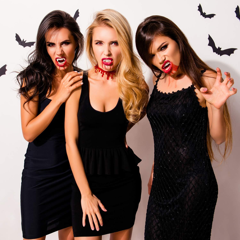 CHBOP 8 Pairs Halloween Party Cosplay Prop Decorazione Vampire Dente Zombie Fantasma Diavolo Orrore Denti Finti Denti Denti Protesi Costume con Custodia di Cristallo