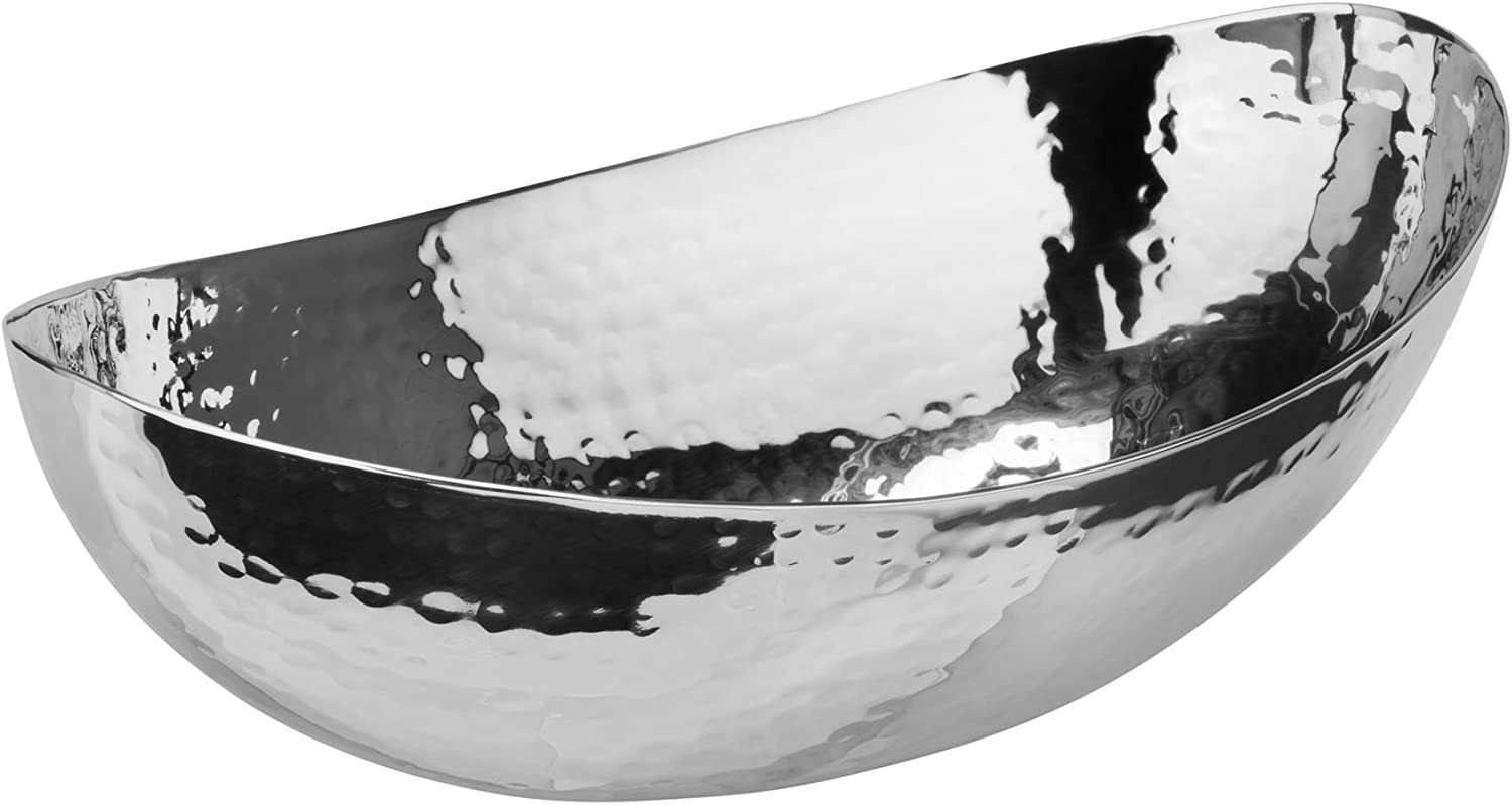 "Elegance Hammered Stainless Steel Oval Bowl, 8.25"", Silver"