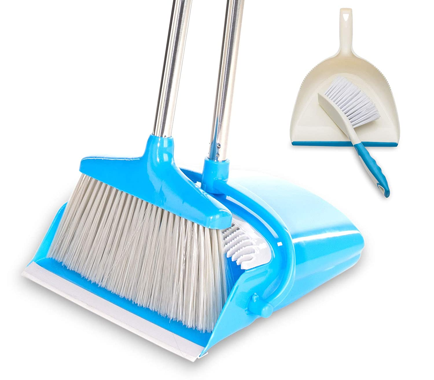 BristleComb Broom and Dustpan Set - Variable Handle Length Broom and Dustpan - Includes: Hand Brush and Dustpan Combo - Lightweight and Upright Stand for Cleaning Your Kitchen, Home, and Lobby (Blue)