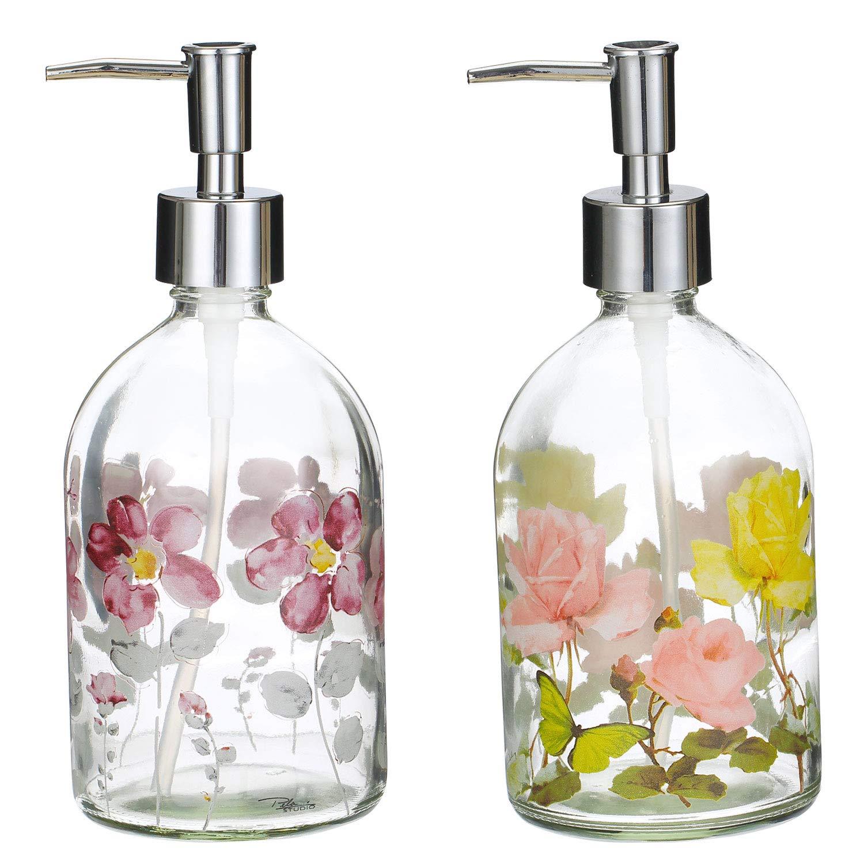 Topadorn 17oz Flower Glass Soap Dispenser Bottle with Plastic Pump,Set of 2