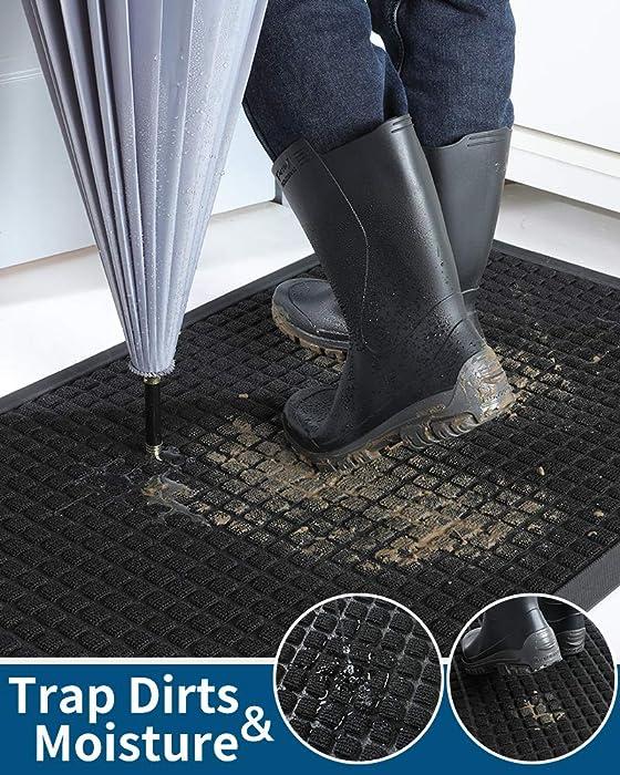 Outdoor Doormats, Non Slip Heavy Duty Rubber Welcome Mats for Front Door, Durable Utility Mud Scrapper Entryway Rug for Indoor Outdoor Floor, Inside Outside Home, Black, 17