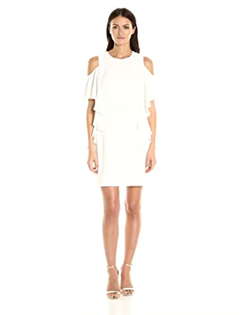 Trina Turk Women's Lambada Carmel Crepe Cold Shoulder Dress, White Wash, 0