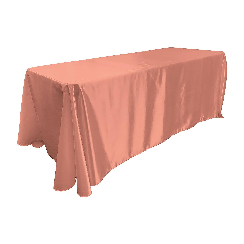 Purple TCbridal90X132PurpleB23 90 by 132-Inch LA Linen Bridal Satin Rectangular Tablecloth