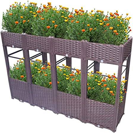 Hershii Juego de macetas de jardín de 2 capas de plástico para uso en interiores y exteriores, rectangulares, para plantas, jardinería, regalo para patios, césped, patios, color marrón: Amazon.es: Hogar