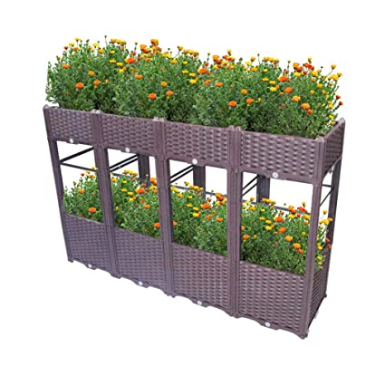 Hershii 2 Layer Plastic Raised Garden Beds Planter Kit Diy