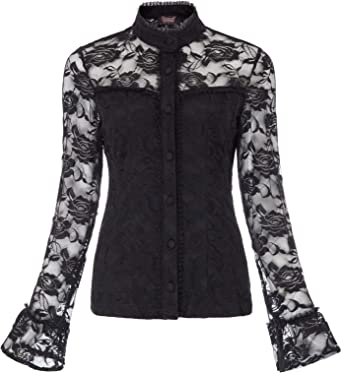 Ladies 12-22 New 2 Point Hem Stretch Tunic Top Black Grey Goth Floral