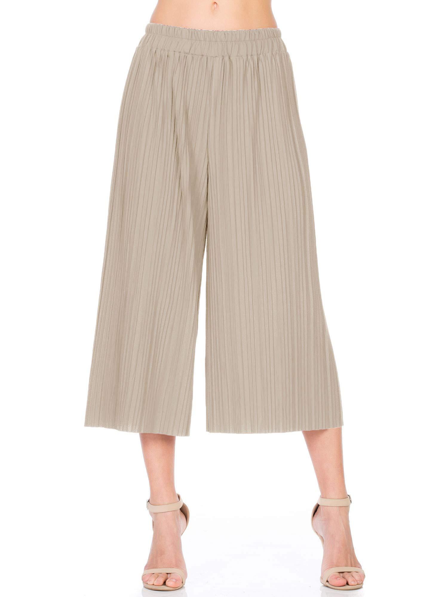 Fashion California Womens Elastic Waist Accordion Pleated Wide Culottes Capri Pants (L/XL, Stone)
