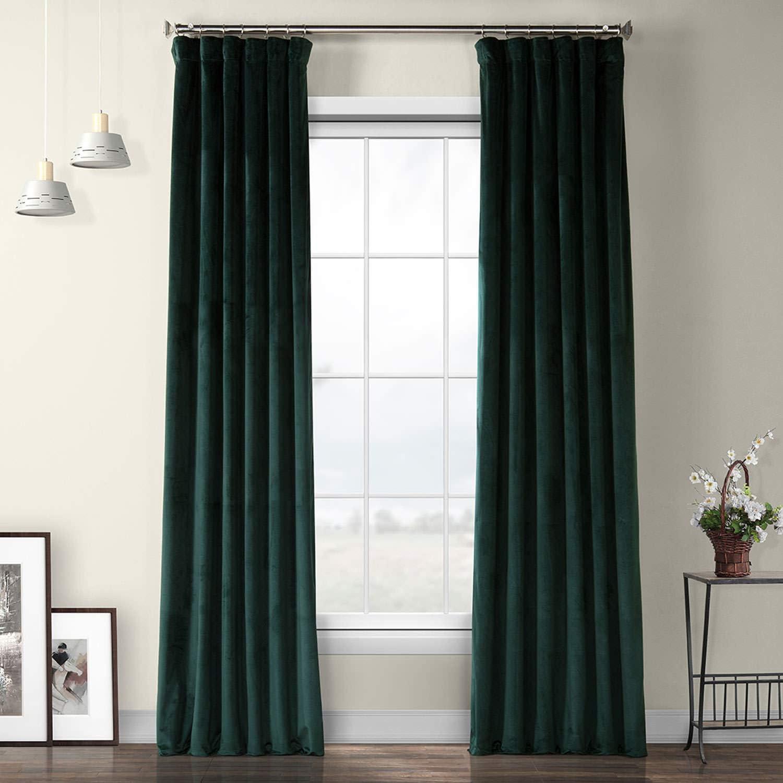 HPD Half Price Drapes VPYC-179759-84 Heritage Plush Velvet Curtain (1 Panel), 50 X 84, Forestry Green