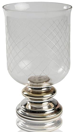 Chiccie Windlicht Auf Silbernen Sockel 26cm Glas Tischdeko