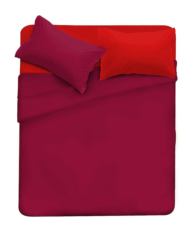 r/éversible Singolo 150 x 300 cm + 52 x 82 cm Italian Bed Linen Fragola//Avio 100//% Coton Drap de Dessous et taies d/'Oreiller Teinte Unie Parure de lit compl/ète avec Drap de Dessus