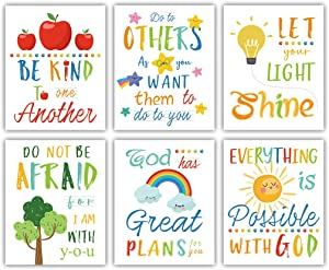 "Colorful Rainbow Art Print,Kids Inspirational Quote Canvas Posters Set of 6(8""X10"", Unframed),Be Kind Bible Verse Wall Art for Children' s Classroom,Sunday School Decor."