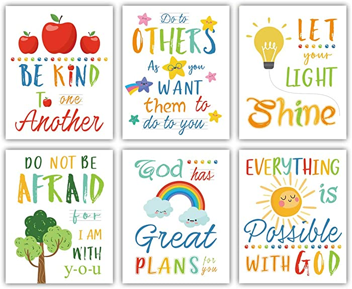 """Colorful Rainbow Art Print,Kids Inspirational Quote Canvas Posters Set of 6(8""""X10"""", Unframed),Be Kind Bible Verse Wall Art for Children' s Classroom,Sunday School Decor."""
