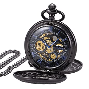 Pocket Watch Skeleton Mechanical Double Case Hand-wind SIBOSUN Black Blue Roman Numerals Antique Chain