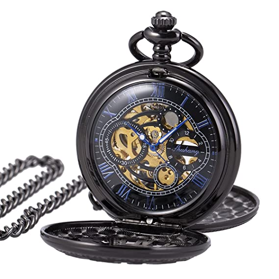 Amazon.com: Pocket Watch Skeleton Mechanical Double Case Hand-wind SIBOSUN Black Blue Roman Numerals Antique Chain: Watches