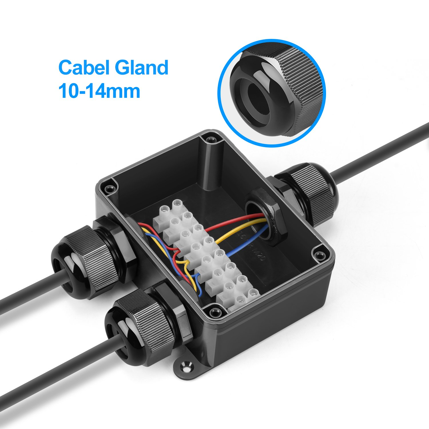 Junction Box, Beauty Star Waterproof IP66 Cable Connector, Larger 3 ...