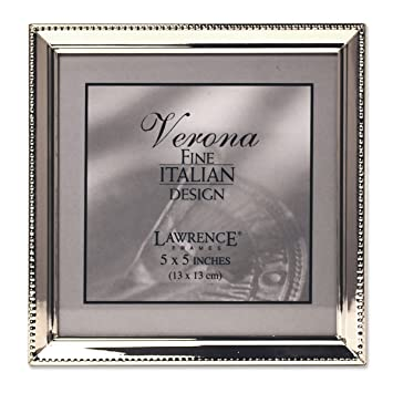 lawrence frames polished silver plate 5x5 picture frame bead border design