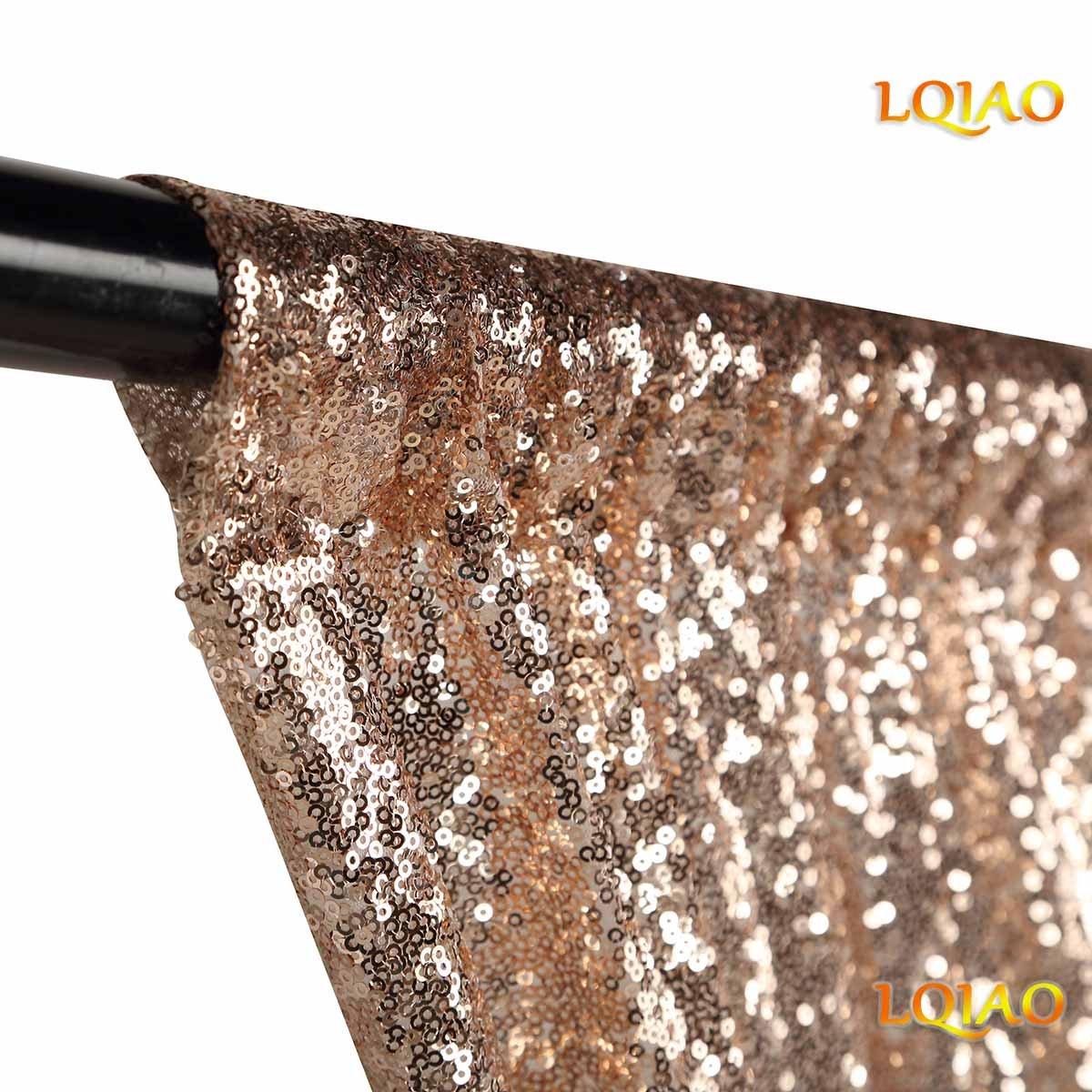 LQIAO 1ピース 2フィートx8フィート (60cmx245cm) シャンパンゴールドスパンコール生地 写真背景 クリスマス/結婚式/パーティー写真装飾用   B07GQTT13M