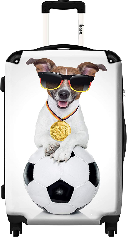 Ikase Hardside Spinner Luggage Dog with a white ball