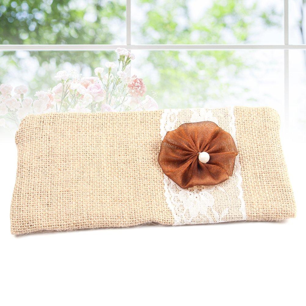 Amazon Burlap Clutch Bag Flower Lace Bride Bridesmaid Purse