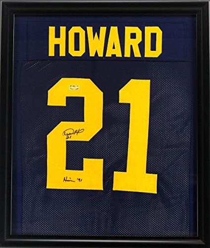 Desmond Howard Signed Michigan Framed Custom Blue Jersey With quot Heisman  91 quot  Inscription - Autographed f23a8a405