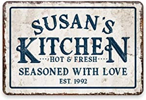 MAIYUAN Personalized Vintage Kitchen Room Decor Metal Kitchen Sign,Kitchen Wall Decor,Seasoned with Love Sign 8x12 in