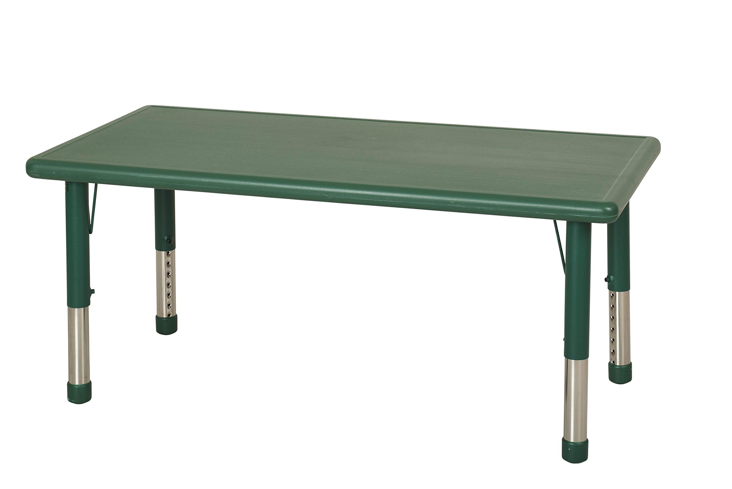 ECR4Kids 24 x 48'' Rectangular Resin Adjustable Activity Table, Green