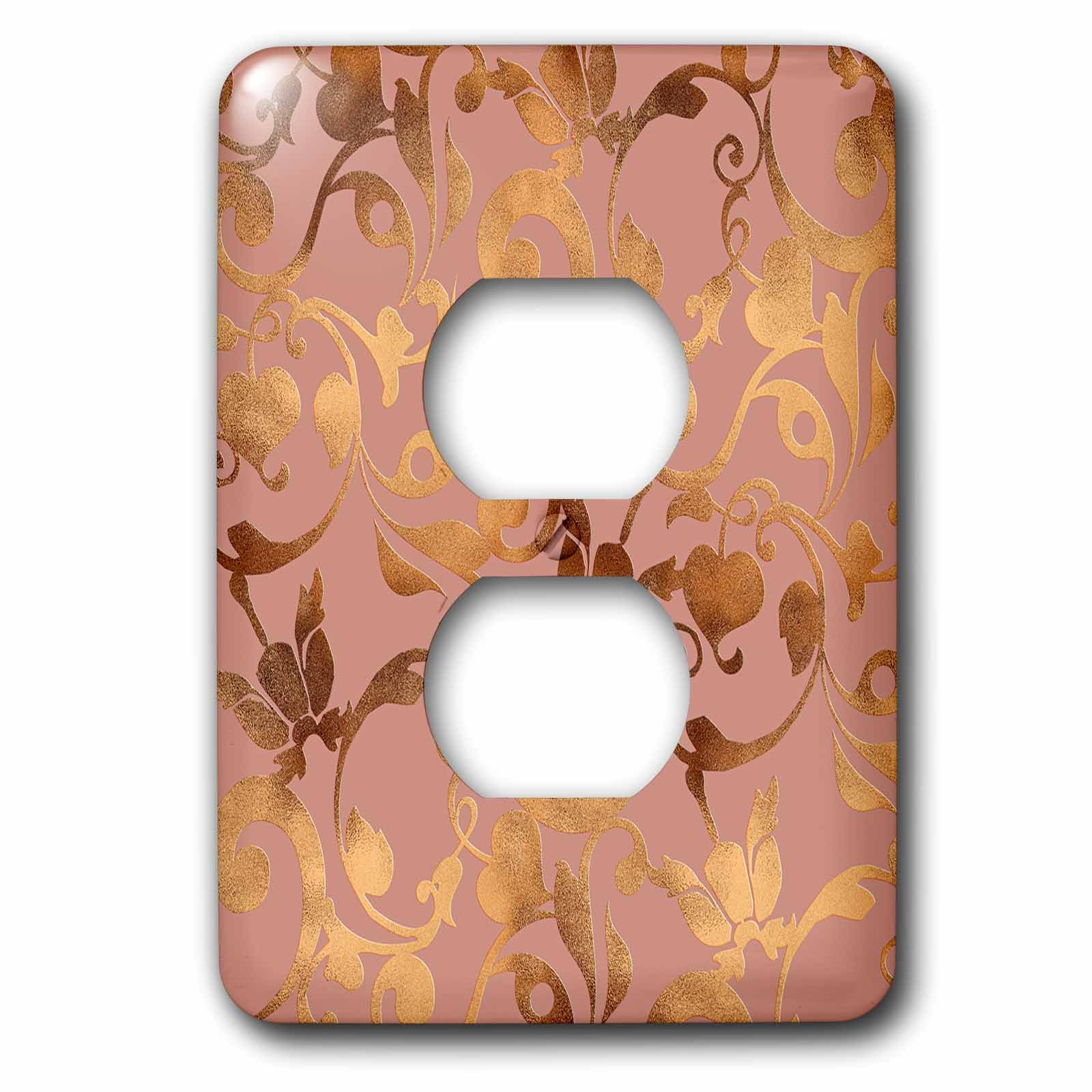 3dRose Uta Naumann Faux Glitter Pattern - Luxury Shiny Elegant Rose Gold Floral Flower Copper Damask Pattern - Light Switch Covers - 2 plug outlet cover (lsp_272877_6) by 3dRose (Image #1)